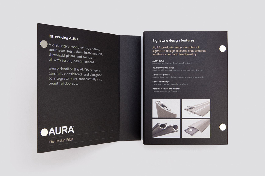 Sample book designed by Believe In for Lorient's door sealing system Aura