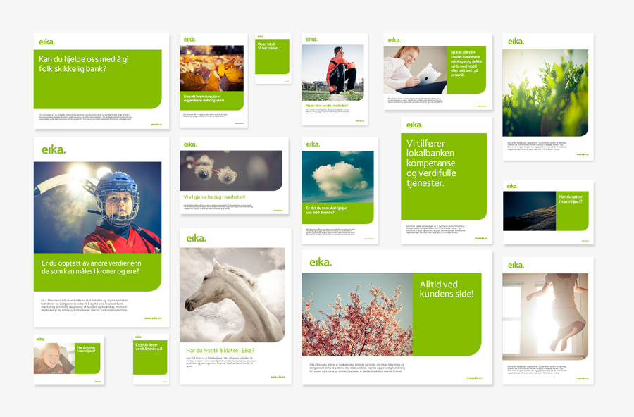 Brand identity templates designed by Mission for local bank alliance Eika