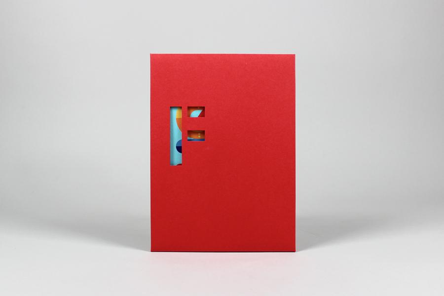 Folder with die cut logo detail created by digital design and branding agency Fieldwork
