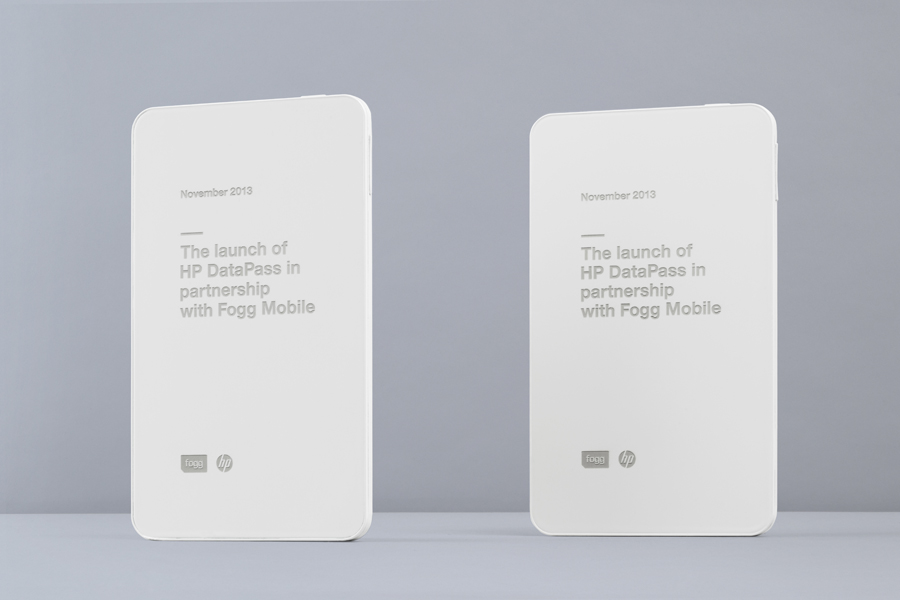 White painted and laser etched tablets created by Bunch to commemorate Fogg's Datapass service