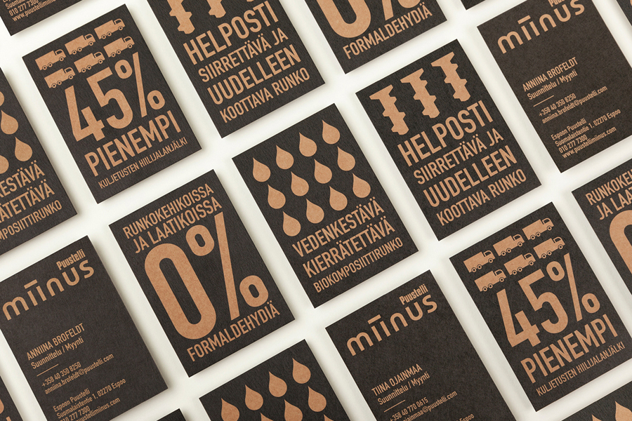Logotype and business cards designed by Bond for Puustilli's new reductionist kitchen Miinus