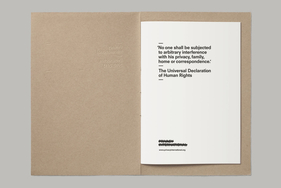 Envelope with blind emboss and perforated detail for Privacy International designed by This Is Real Art