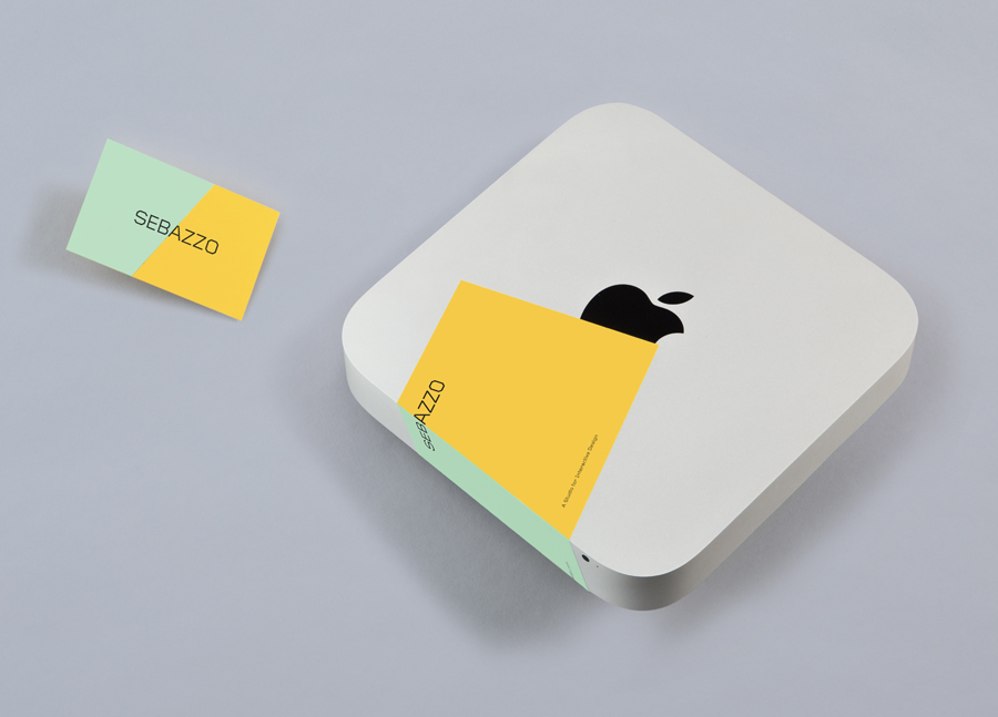 Business card and sticker with edge to edge colour detail designed by Bunch for digital design studio Sebazzo