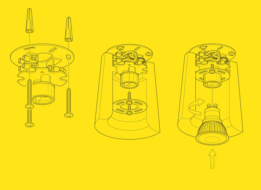 Technical illustrations for lighting design and manufacturer Terence Woodgate designed by Charlie Smith Design