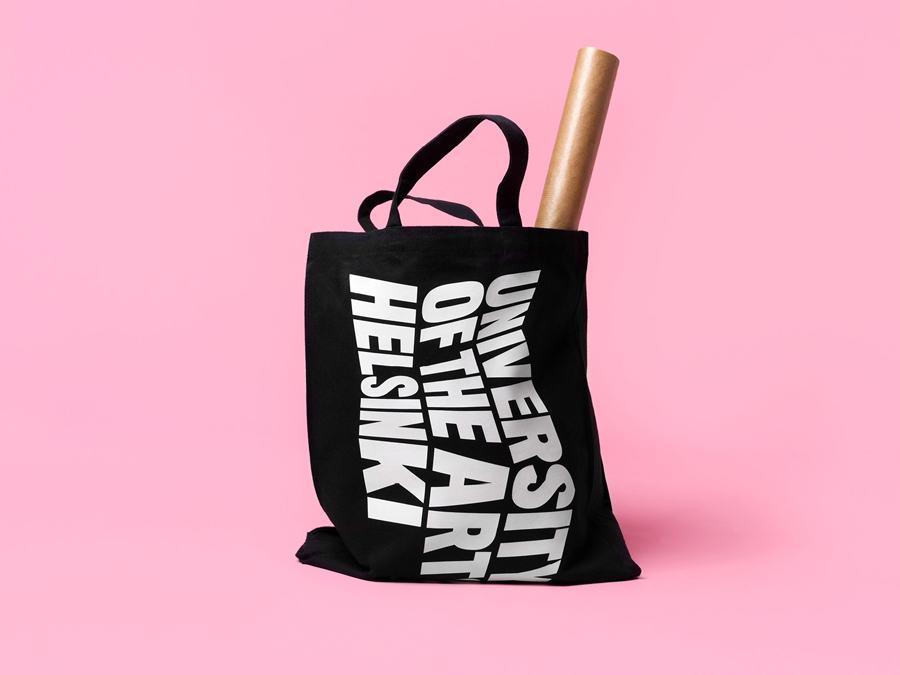 Screen printed tote bag designed by Bond for the University of the Arts Helsinki