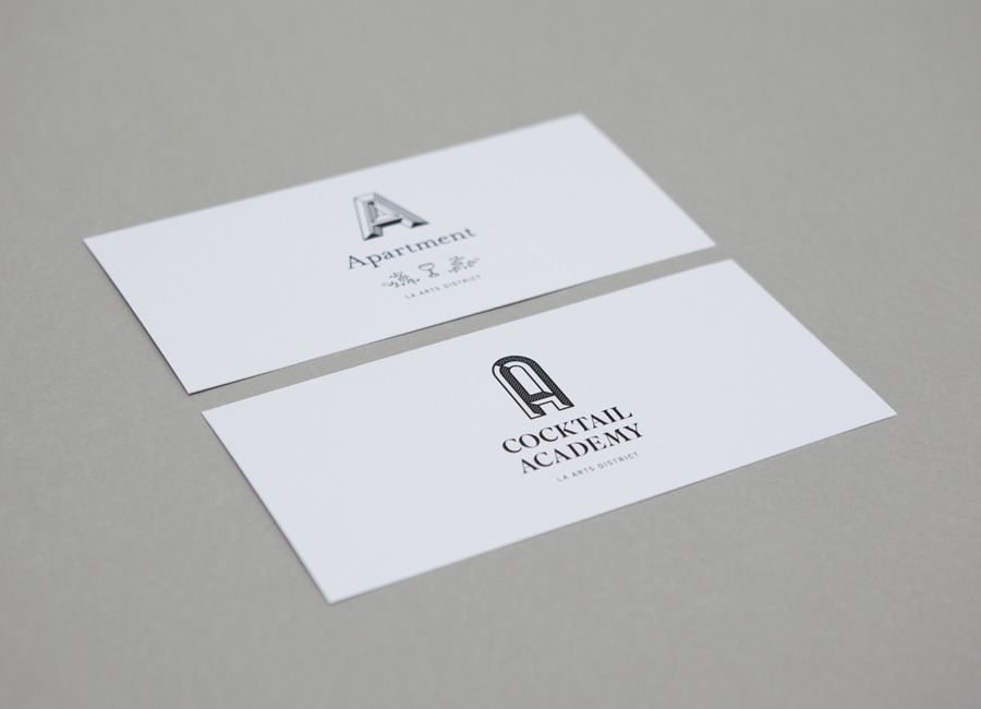 Logo and print for cocktail academy Apartment A designed by Say What Studio