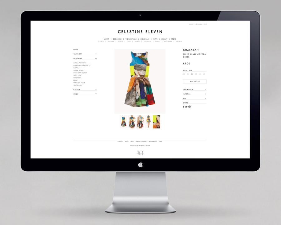 Website designed by Construct for luxury fashion and homeware store Celestine Eleven