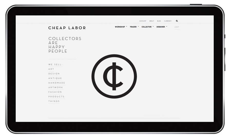 Logo and e-commerce website for craft retail site Cheap Labor designed by Sciencewerk