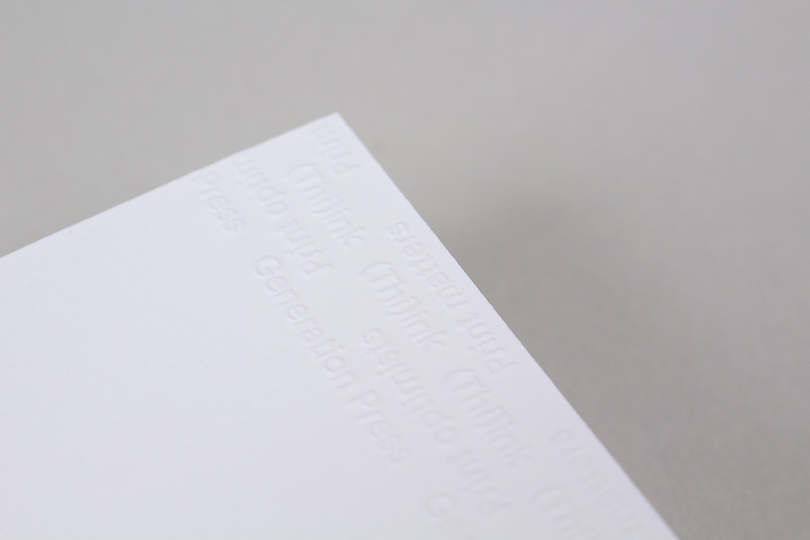 Print with a blind emboss detail for print production company Generation Press designed by Build