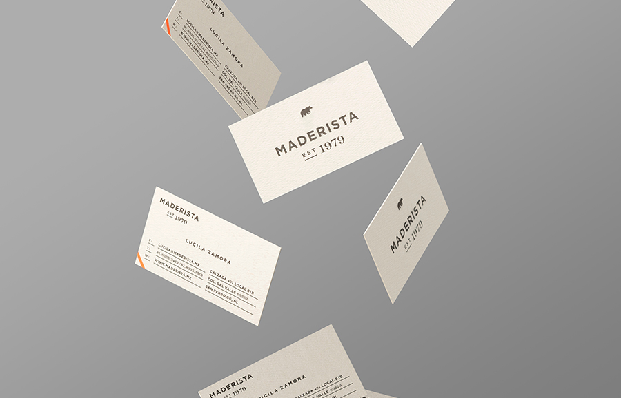 Logo and business card designed by Anagrama for San Pedro-based carpentry studio Maderista