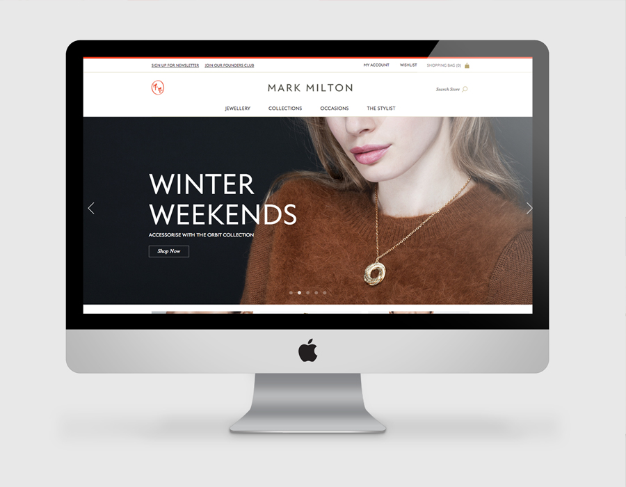 Logo and website designed by ico for jewellery brand Mark Milton