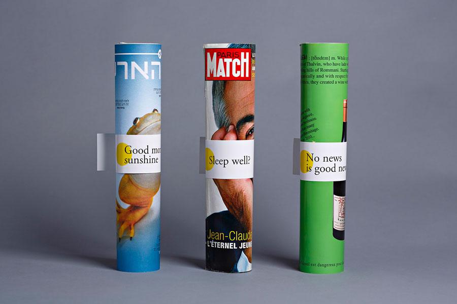 Magazine ties created for Tel aviv hotel Mendeli Street designed by Koniak