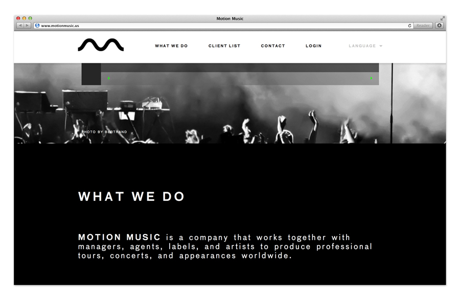 Logo and website designed by Face for tour management agency Motion Music