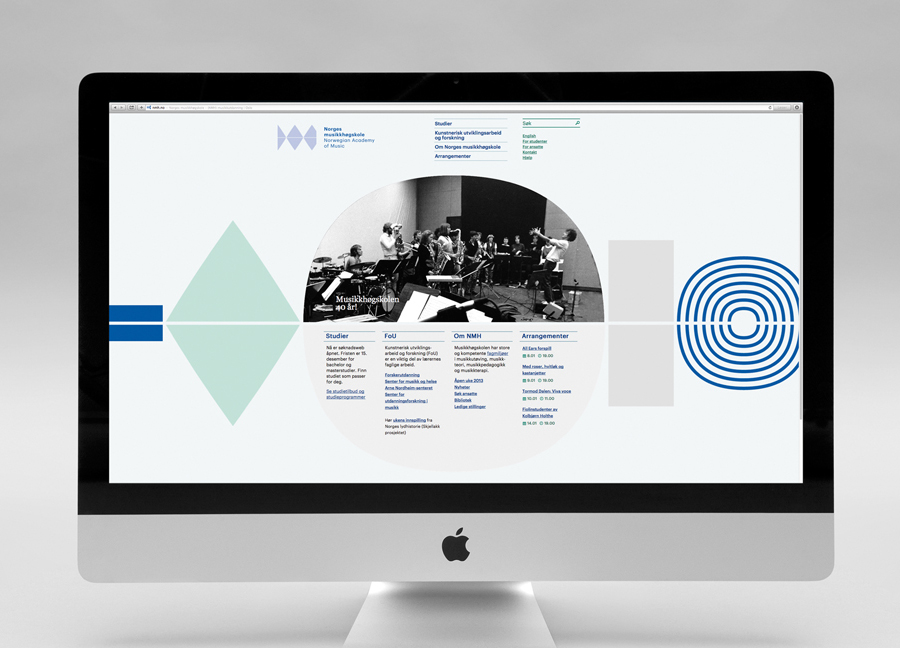 Logo and website for the Norwegian Academy of Music designed by Neue