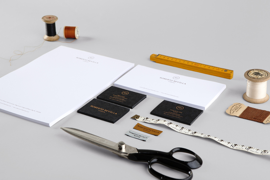 Stationery with copper foil finish for London tailor Roberto Revilla designed by Friends