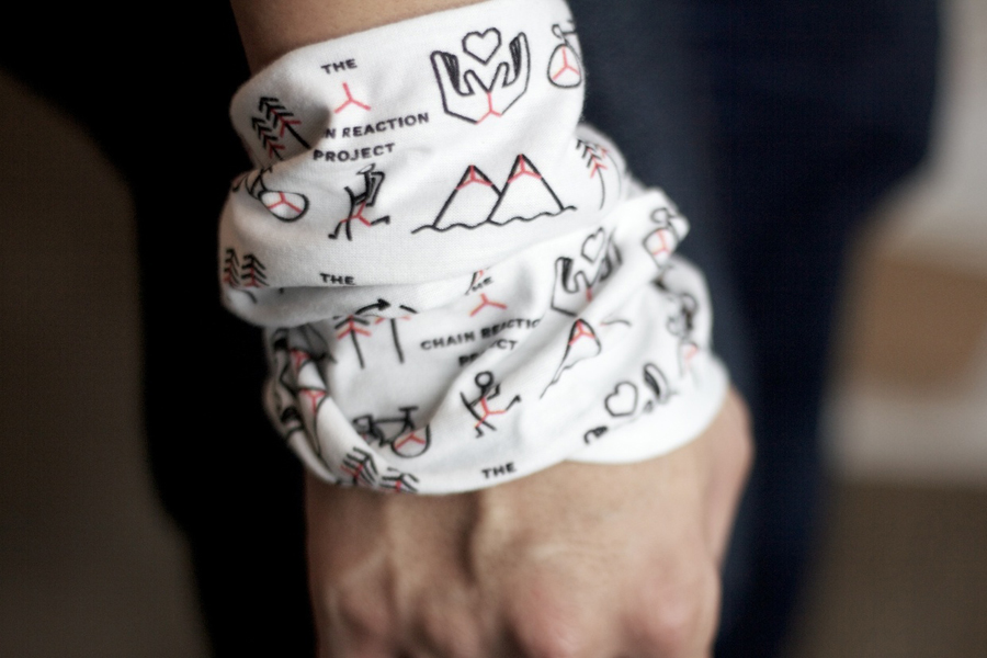 Wrist scarf with icon pattern for The Chain Reaction Project designed by Bravo Company