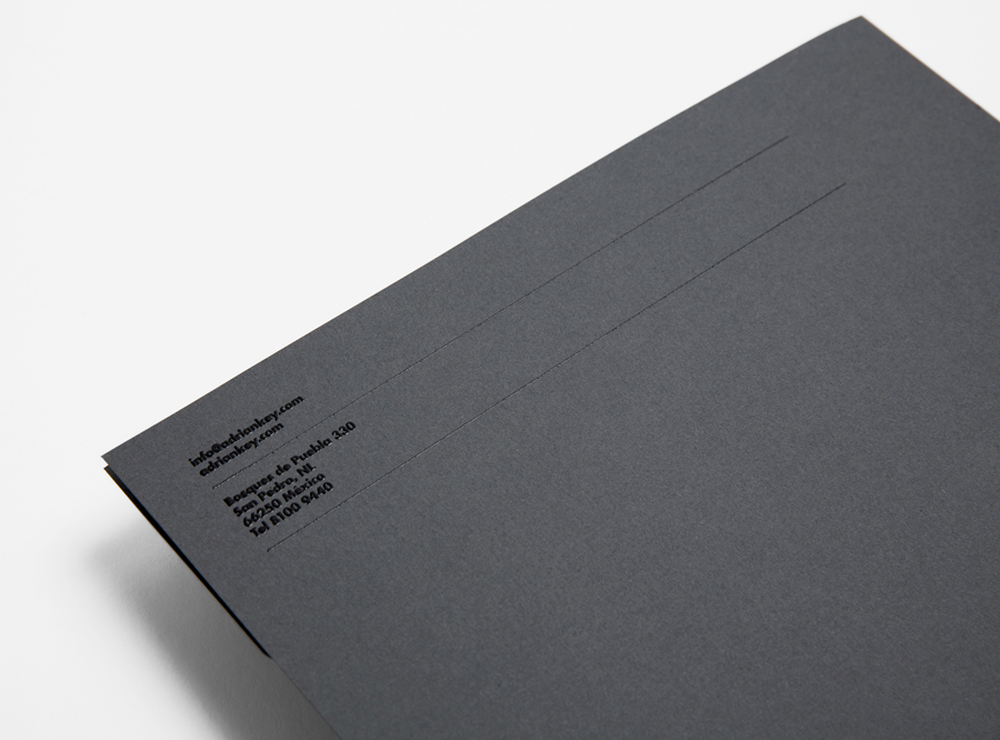 Logo and stationery with thermographic ink detail designed by Face Creative for MX architecture firm and architect Adrián Key