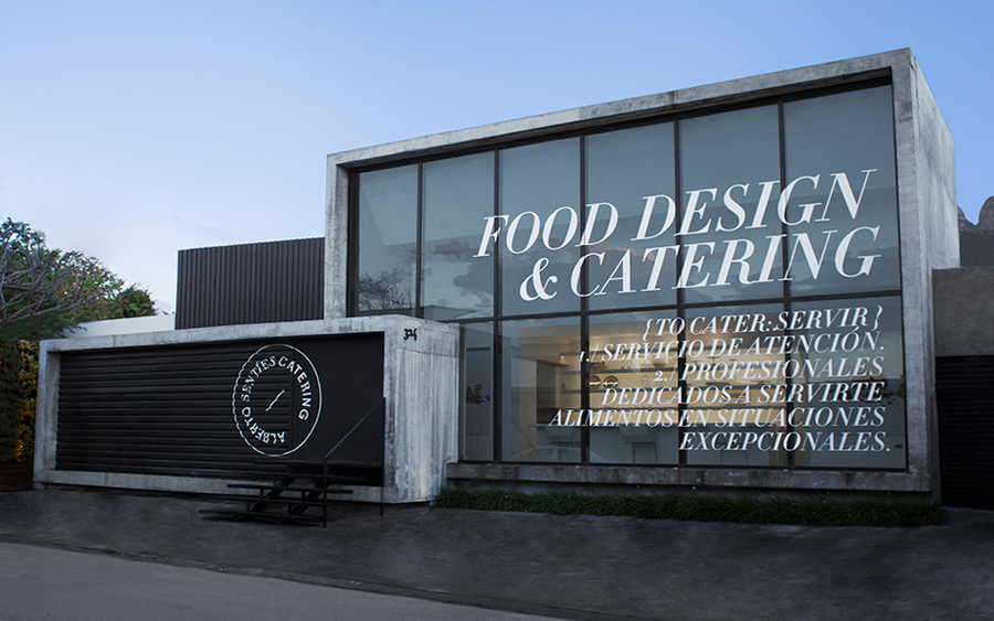 Logo and signage for Alberto Senties Catering designed by Anagrama
