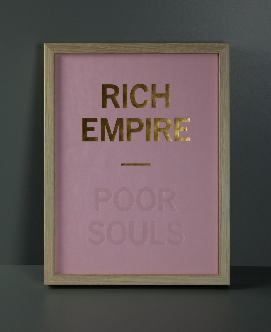 Poster with pink Colorplan paper, blind deboss and gold foil detail designed by Graphical House for The Empire Café