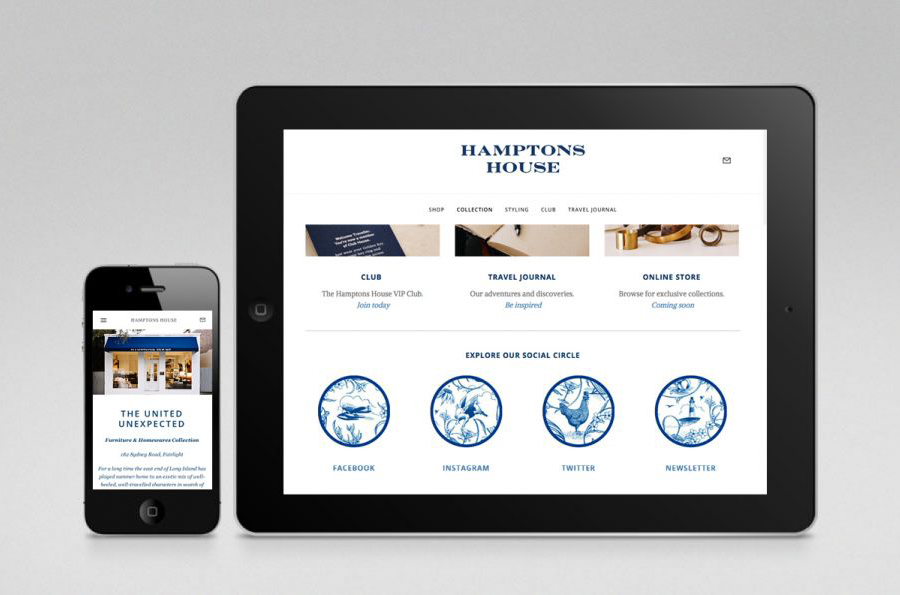 Logo and website designed by Moffitt.Moffitt for Sydney furniture and homeware retailer Hamptons House