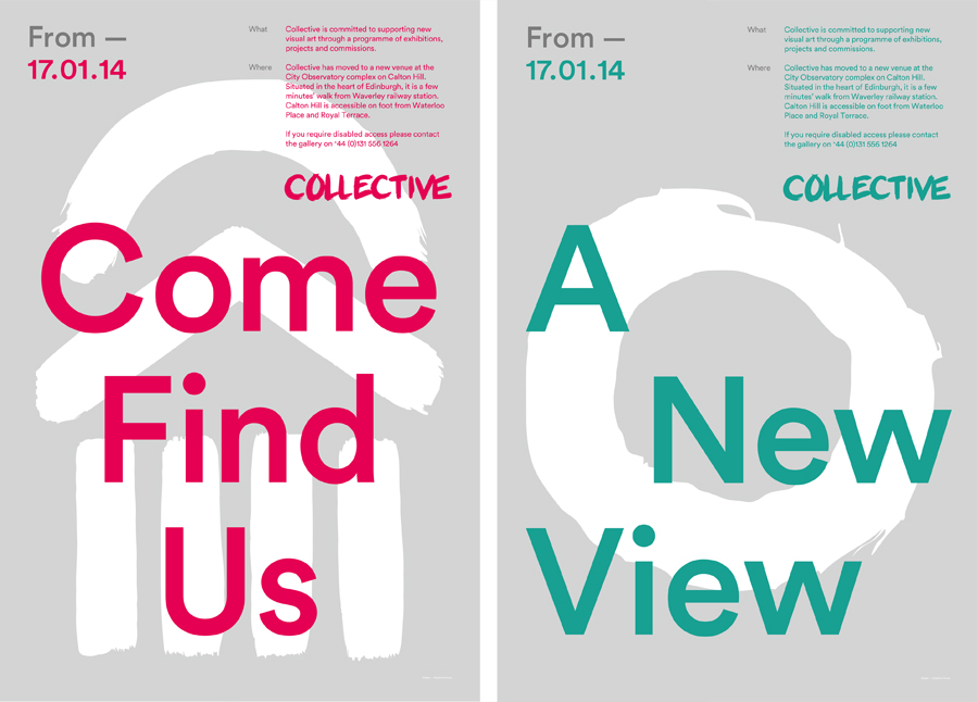 Brand identity and posters designed by Graphical House for contemporary visual arts organisation Collective