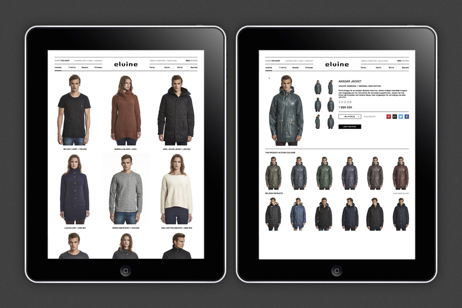 Responsive website for Swedish clothing brand Elvine designed by Lundgren+Lindqvist