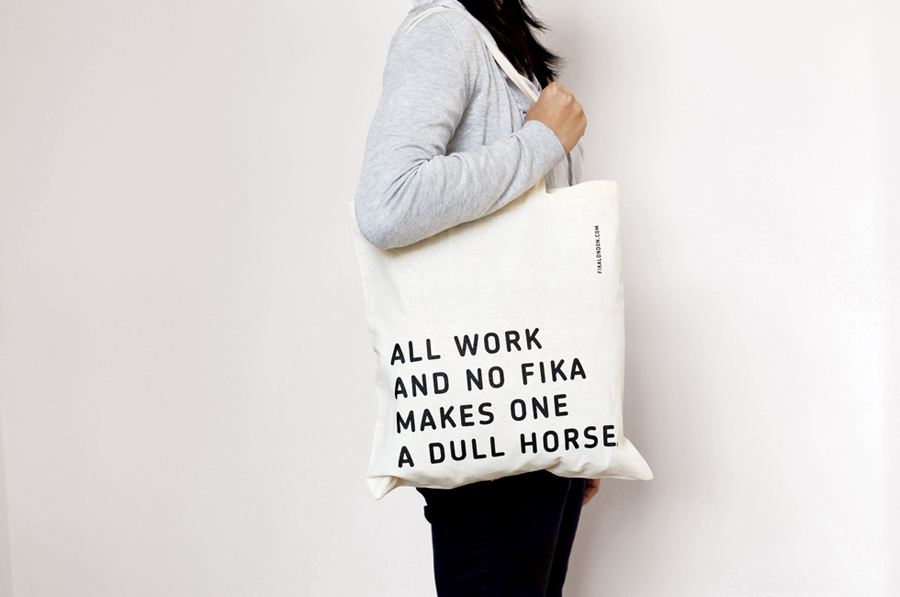 Tote bag with illustrative detail created by Designers Anonymous for London kitchen and bar Fika