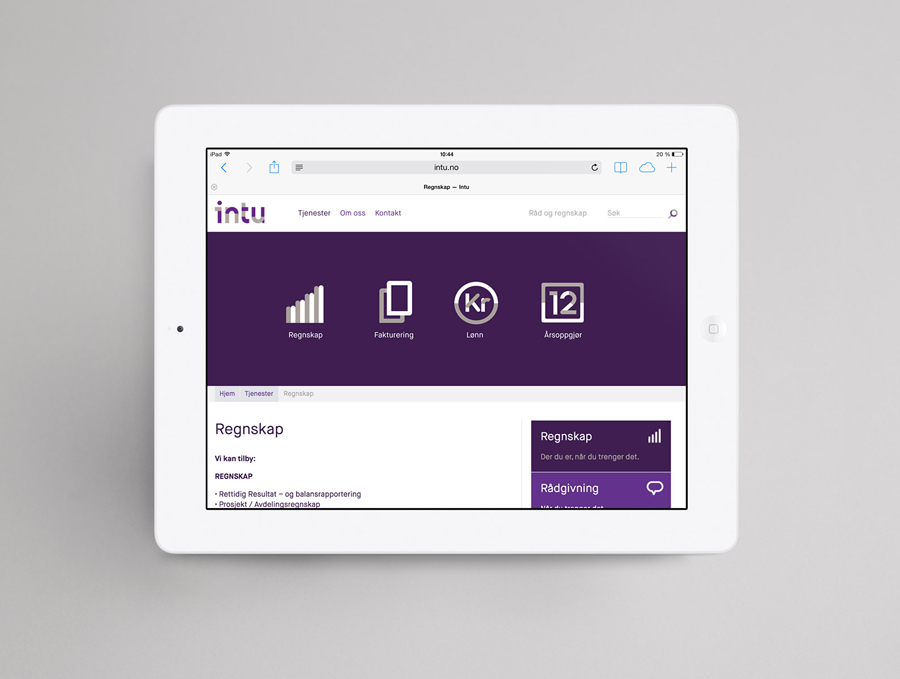 Logotype and website by Heydays for Norwegian accounting and consultant firm Intu