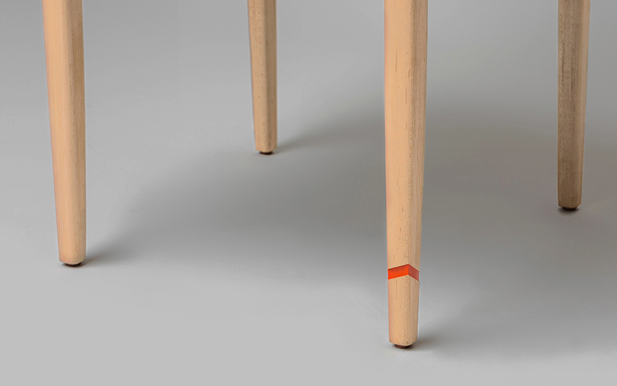 Chair leg detail by San Pedro-based carpentry studio Maderista
