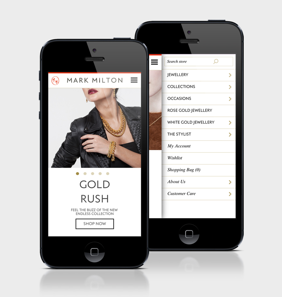 Mobile website designed by ico for jewellery brand Mark Milton