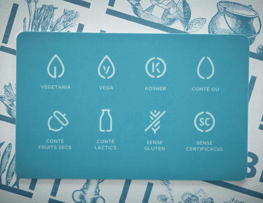 Iconography and print designed by Mayuscula for Spanish organic supermarket Obbio
