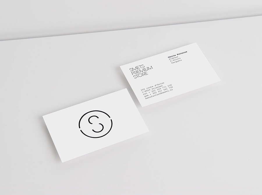 Logomark and business card designed by Coast for Brussels based luxury department store Smets