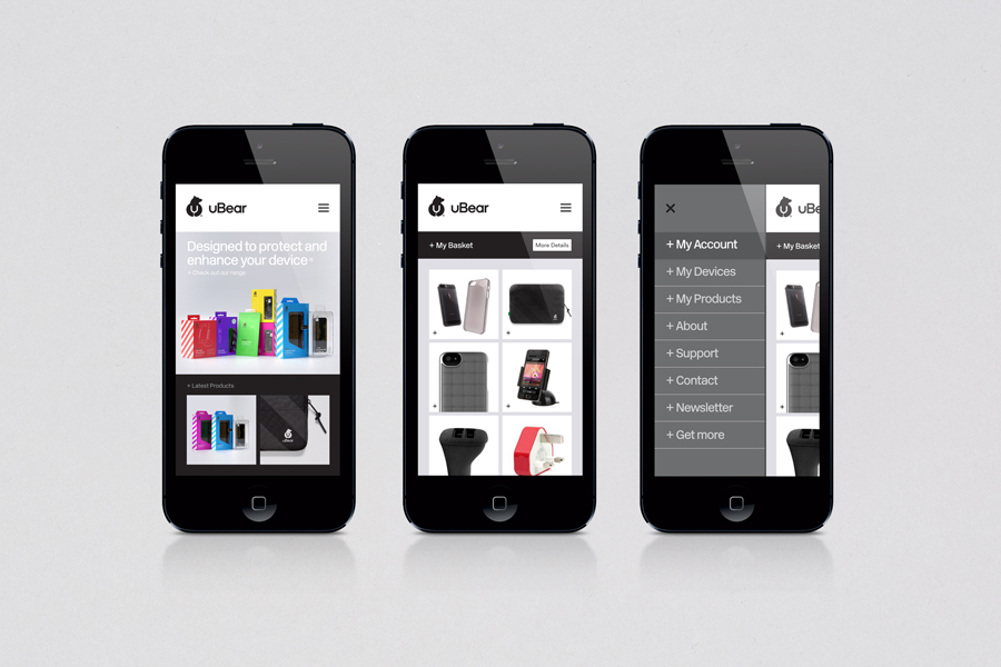 Logo and responsive website designed by Hype Type Studio for high end mobile phone, tablet and laptop accessories company U-Bear