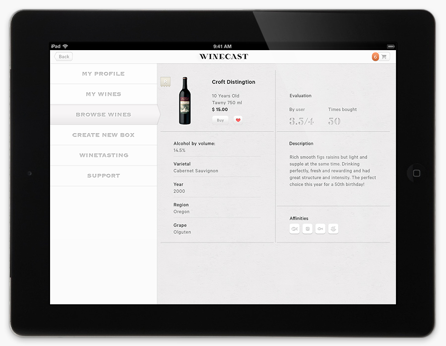 Logo and mobile website designed by Anagrama for online wine-tasting, curation and delivery service Winecast