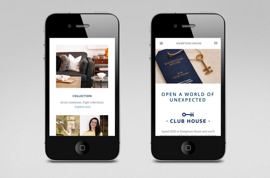 Logo and responsive website designed by Moffitt.Moffitt for Sydney furniture and homeware retailer Hamptons House