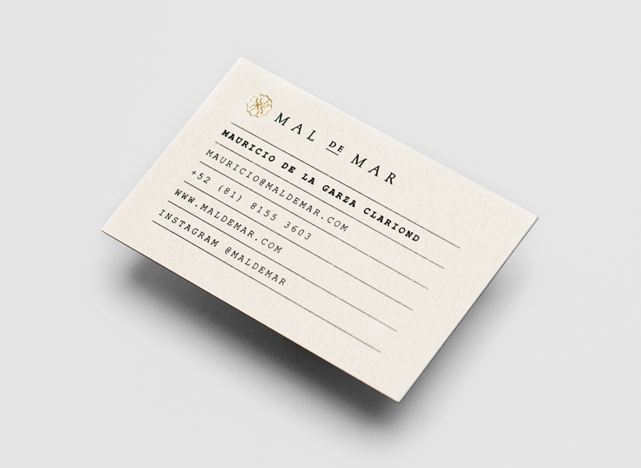 Logo and business card with gold foil detail for on-line art, design, architecture and photography journal Mal de Mar designed by Face