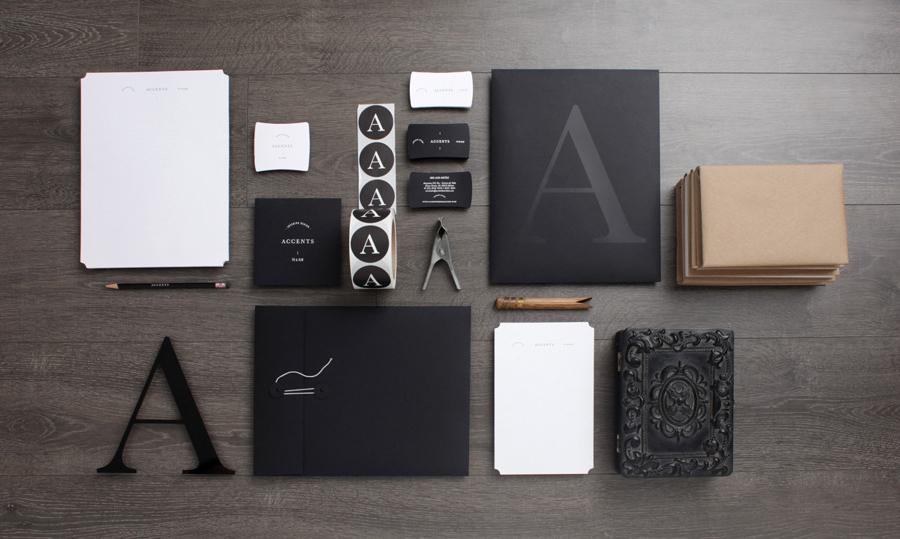 Logo, stationery and stickers designed by La Tortilleria for home furnishing retailer and interior design service Accents