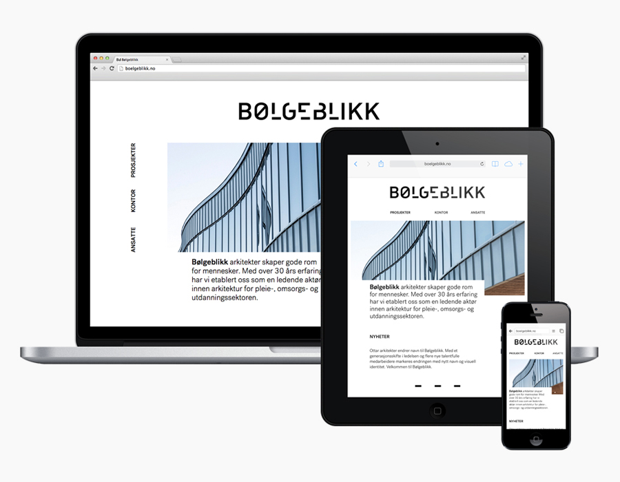 Logotype and responsive website designed by Tank for architecture firm Bølgeblikk