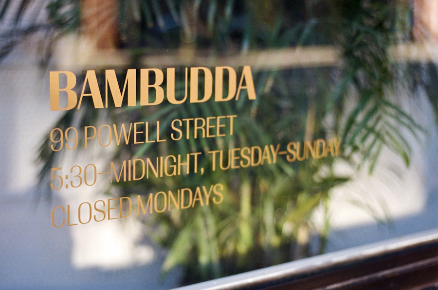 Logotype as a window decal designed by Post Projects for Vancover-based Chinese restaurant Bambudda