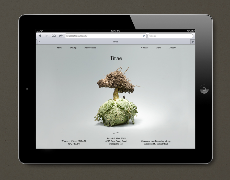 Website designed by Studio Round for restaurant Brae