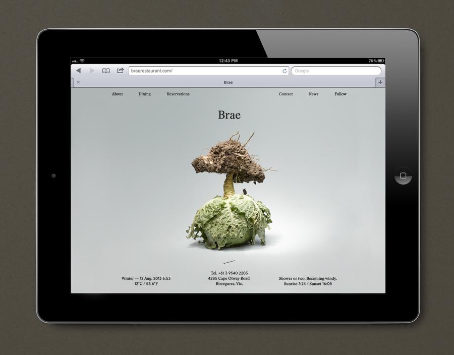 Website designed by Studio Round for restaurant Brae