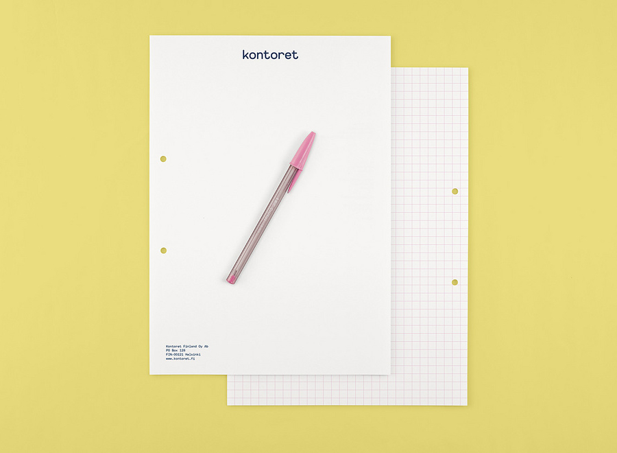 Logo and stationery with grid detail designed by Werklig for Helsinki, by the hour, office space provider Kontoret