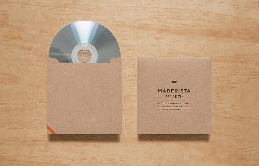 Logo and CD cover with gold foil finish across an unbleached substrate designed by Anagrama for San Pedro-based carpentry studio Maderista