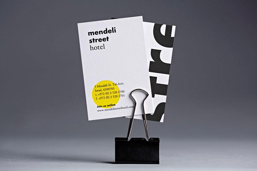 Business cards created for Tel aviv hotel Mendeli Street designed by Koniak
