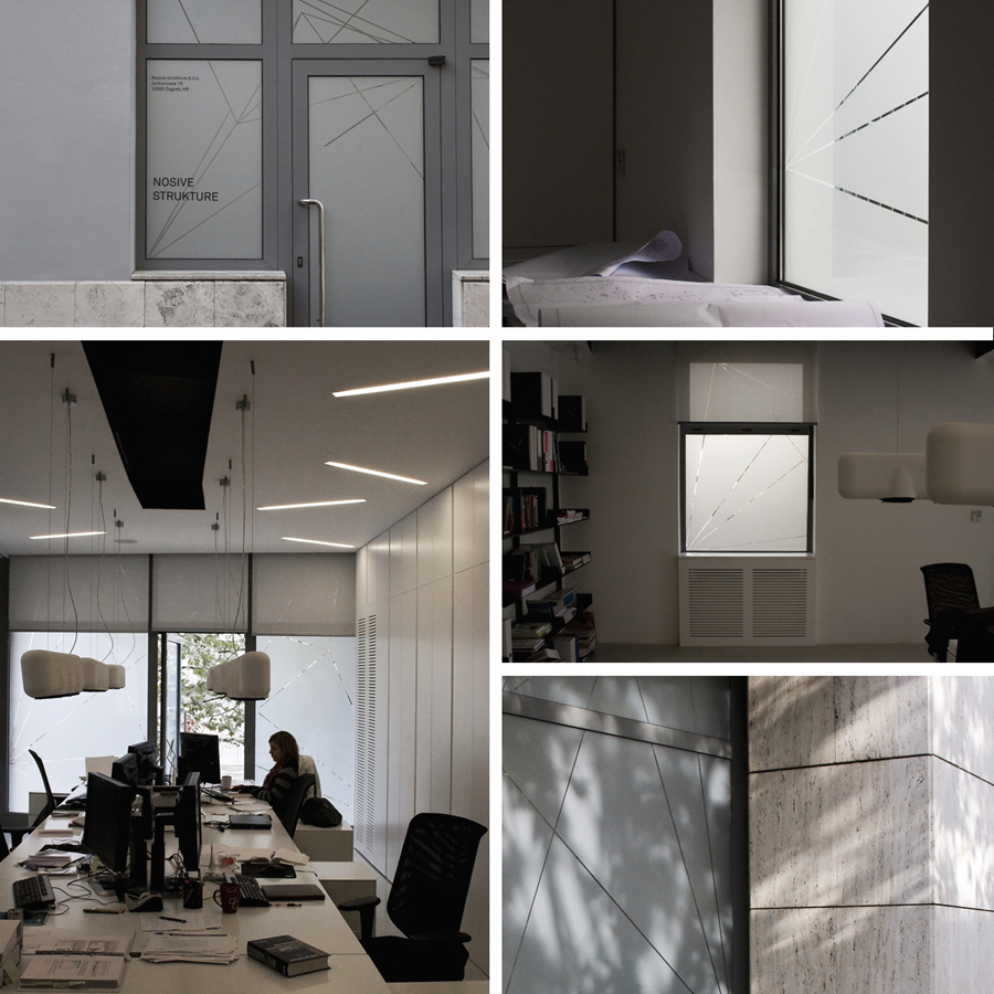 Geometric frosted window decals for structural engineering firm Nosive Strukture designed by Bunch