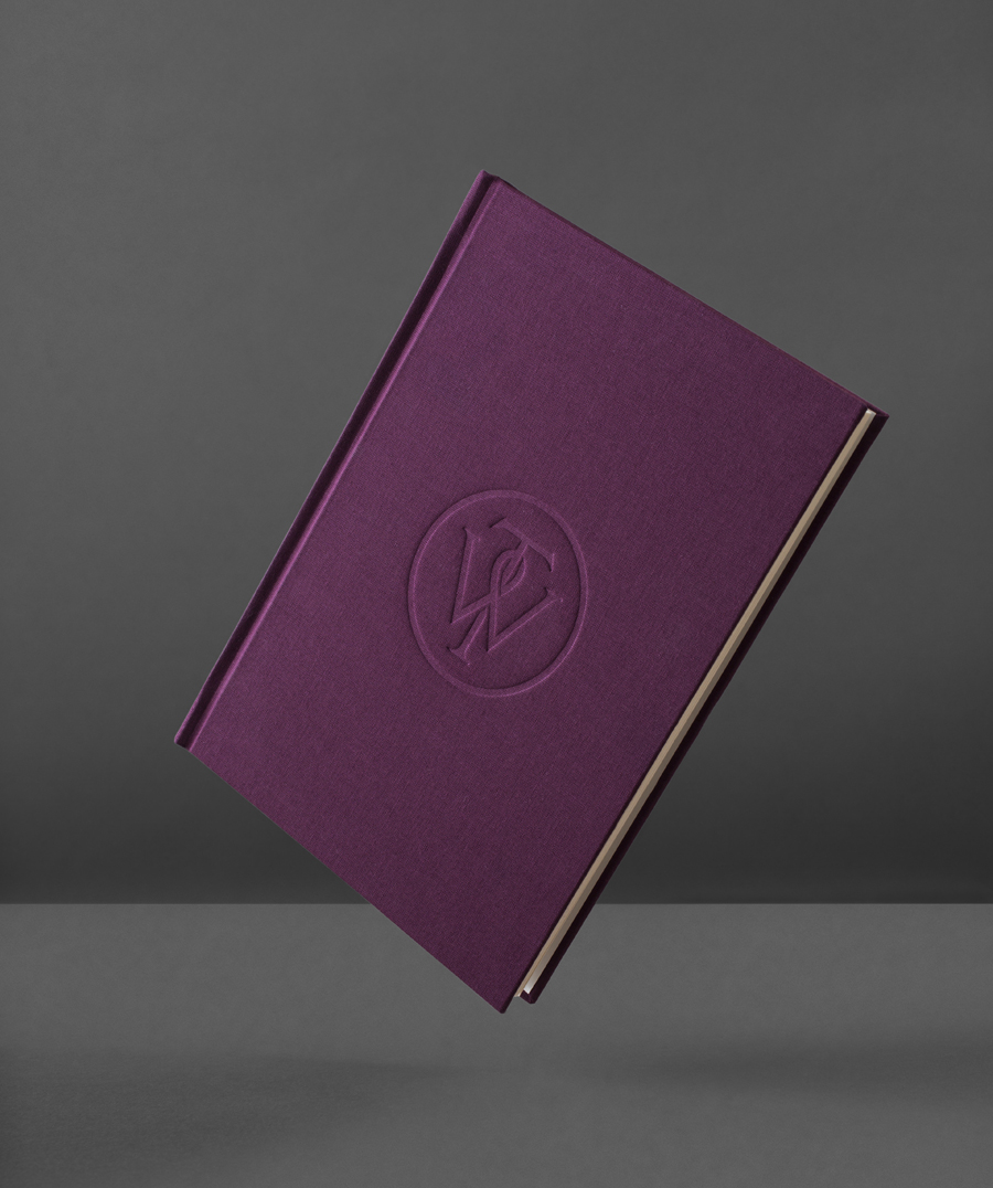 Logo and notebook with purple textile emboss cover designed by Bunch for business consultancy Willow Tree