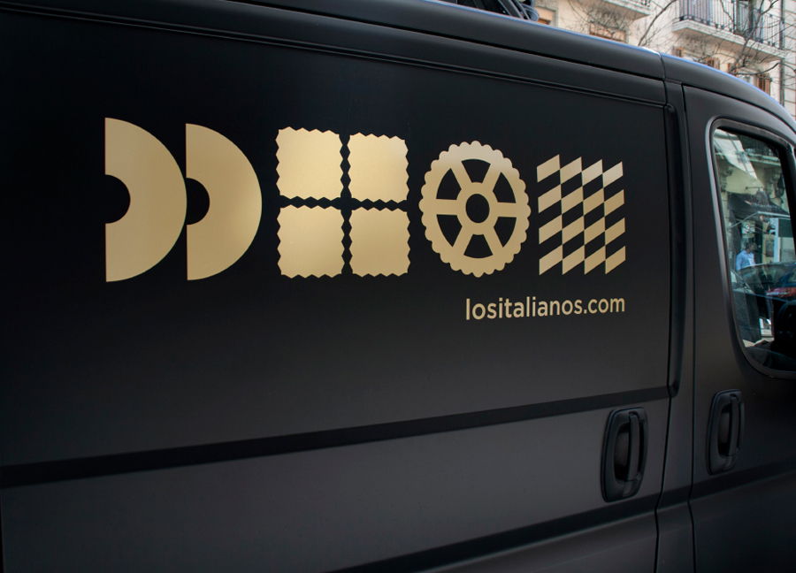 Van livery designed by Huaman for Barcelona based traditional Italian food producer Los Italianos