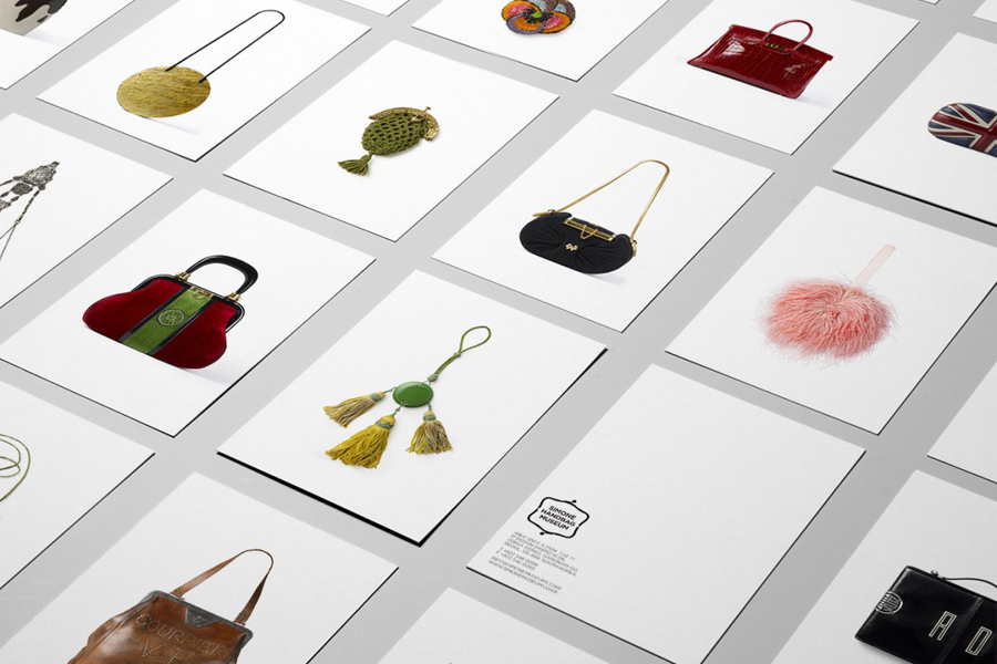 Postcards designed by Charlie Smith Design for the Simone Handbag Museum