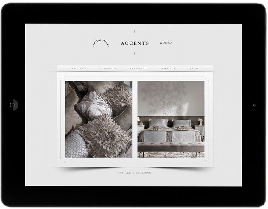 Logo and mobile website designed by La Tortilleria for home furnishing retailer and interior design service Accents