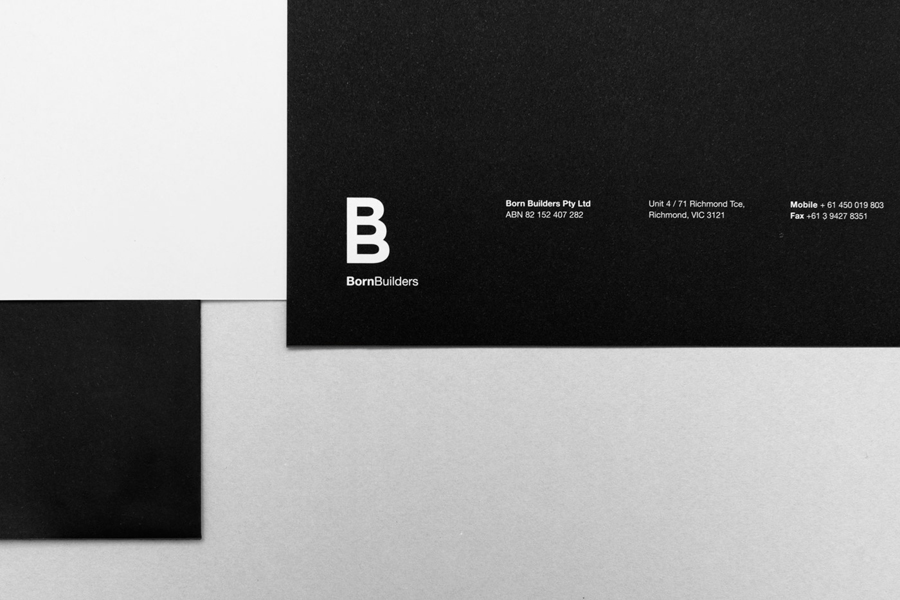 Logo and monochromatic stationery for renovation and carpentry specialists Born Builders designed by The Drop Studio